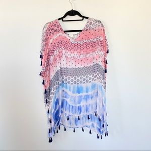 Surf Gypsy Tie Dye Beach Coverup with Tassels